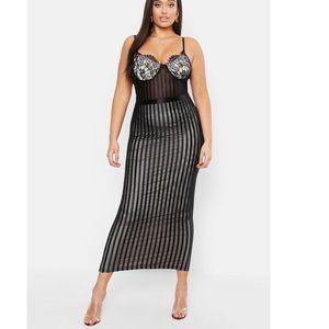 Plus Lace Stripe Mesh Midi Dress